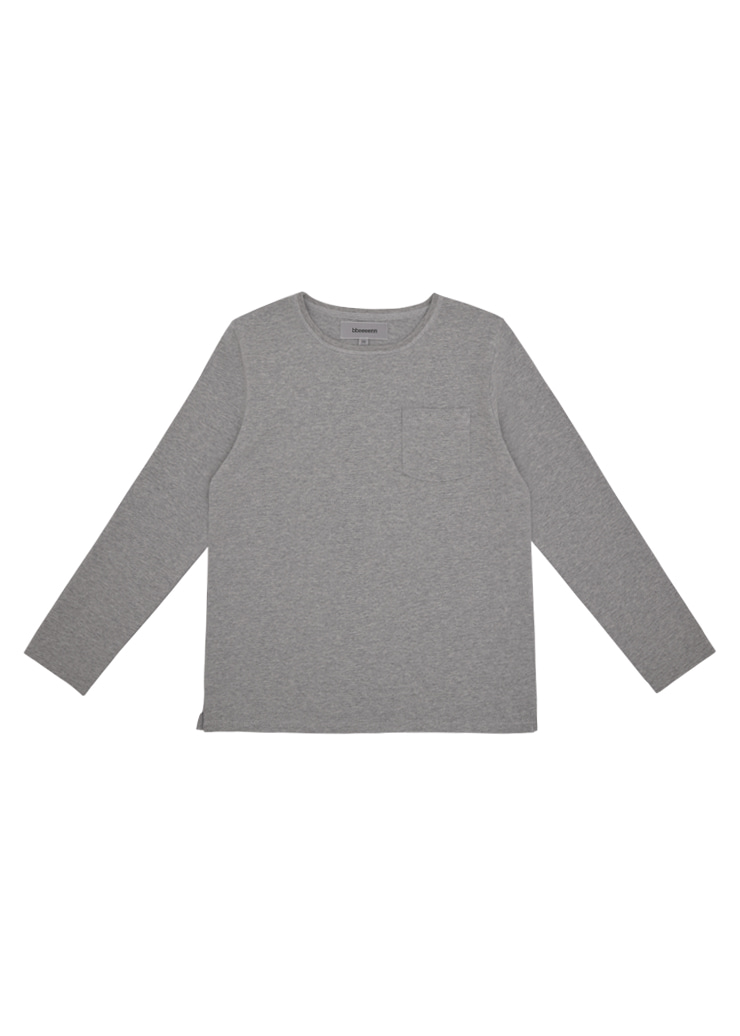 Round Neck Long Sleeve T_Melange Gray