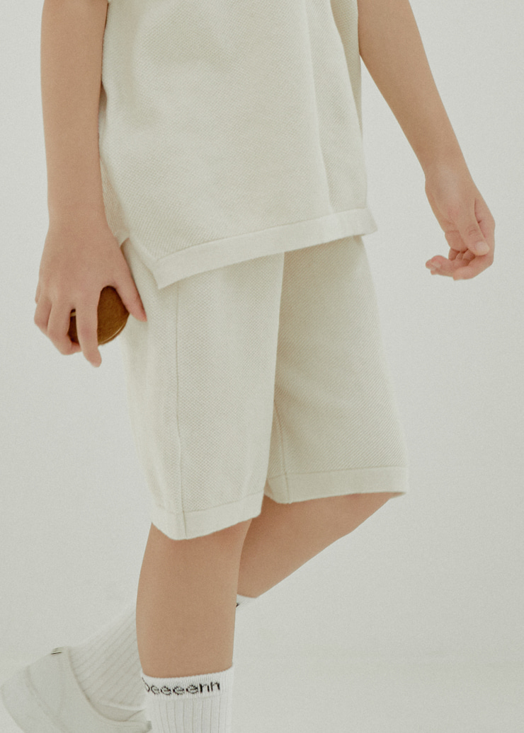 ben Tennis Knit Half Pants_Ecru