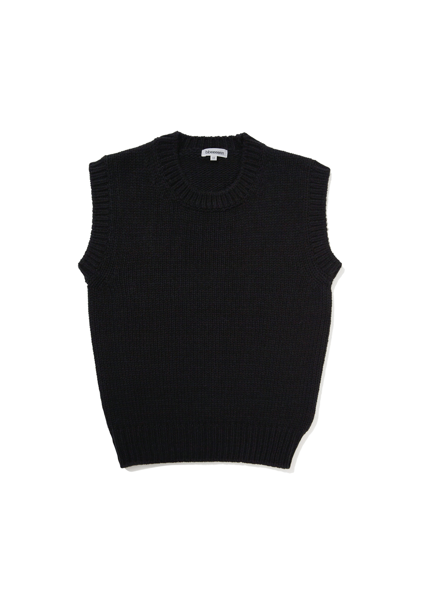 DADDY)Ben)Chunky Warm Knit Vest_Black